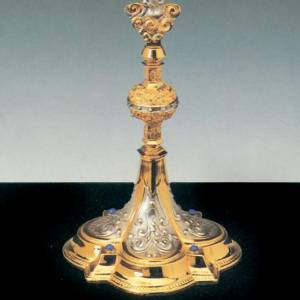 Monstrance, silver and gold-plated brass with angels s3