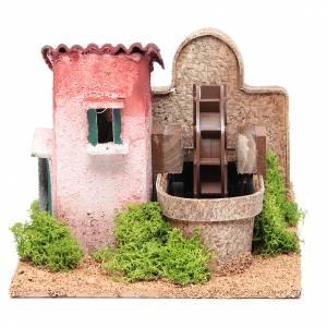 Moulins en miniature: Moulin à eau crèche 14x25x17 cm