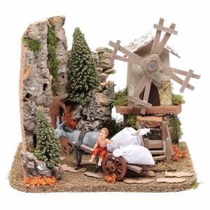 Moulins en miniature: Moulin à vent avec charrette 21x24,5x20,5 cm