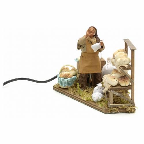 Movimento presepe venditore di pane 12 cm s3
