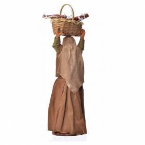 Belén napolitano: Mujer con cesto de pan 14 cm