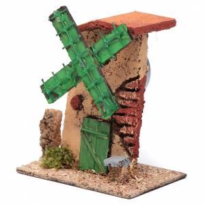 Mulini per Presepi: Mulino a vento legno e sughero 12x10x6 cm tetto irregolare