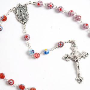 Murano glass rosaries: Multicoloured Murano style glass rosary