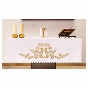 Nappes d'autel: Nappe d'autel 165x300 cm finitions broderies dorées IHS