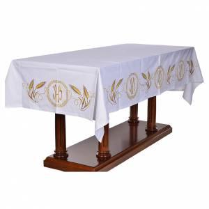Nappe d'autel décor doré épis et symbole IHS s2