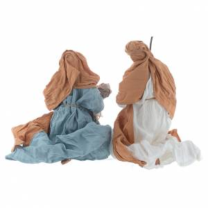 Nativité à genoux 23 cm marron bleu clair s2