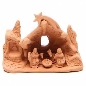 Nativité avec grotte en terre cuite 10x14x6 cm s1