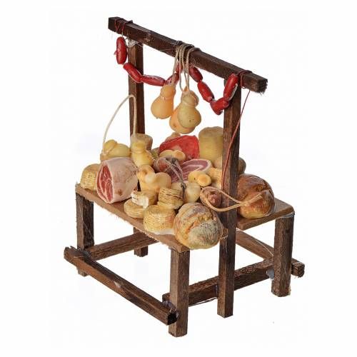 Nativity accessory, cold meat seller's stall in wax 9.5x5x14cm s2