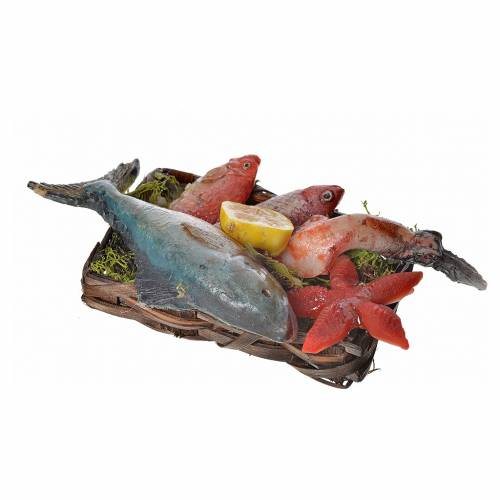 Nativity accessory, fish and starfish basket in wax, 10x7x8cm s3