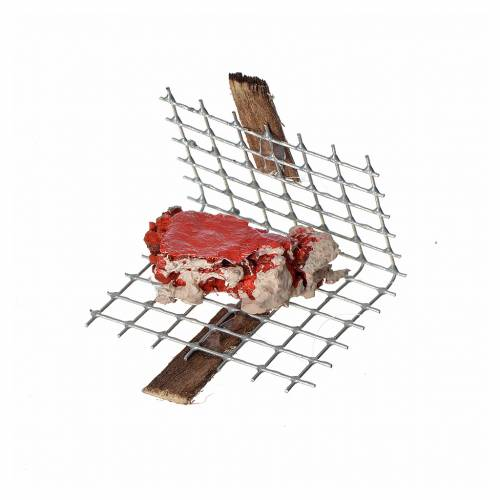Nativity accessory, iron grill with meat 5x4cm s1