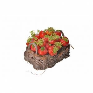 Nativity accessory, tomato basket in wax, 4.5x5.5x6cm s2