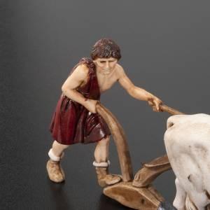 Nativity figurine, farmer plough and oxen 10cm, resin Moranduzzo s2