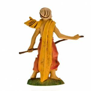 Nativity figurine, shepherd with stick and turban 8cm s2