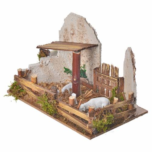 Nativity figurine, stable with sheep and sound s2
