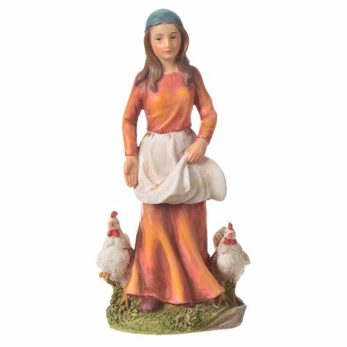 Nativity figurine, woman with hens, 30cm resin s4