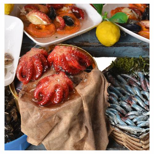 Nativity fishmonger stall in wax 48x26x24cm s5