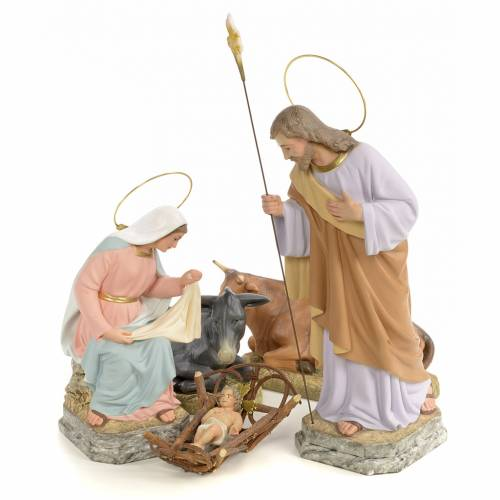 Nativity in wood pulp, (fine decoration) 30cm s1