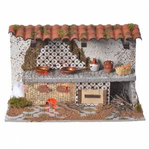 Fireplaces and ovens: Nativity kitchen with flame effect lamp 17x28x25cm