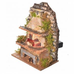 Nativity oven with flickering LED light, assorted 10x6cm s2