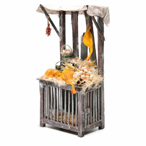 Nativity poultry seller stall in wax, 40x18x12cm s2