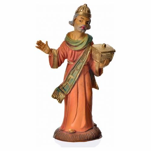 Nativity scene accessory: white wise man figurine 8cm s1