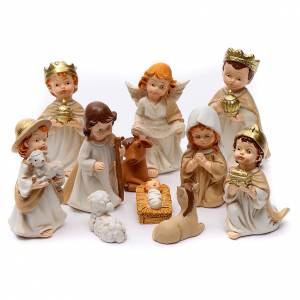 Resin and Fabric nativity scene sets: Nativity scene characters 11 pieces in resin 7 cm