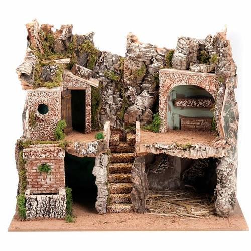 Nativity scene, grotto and village s1