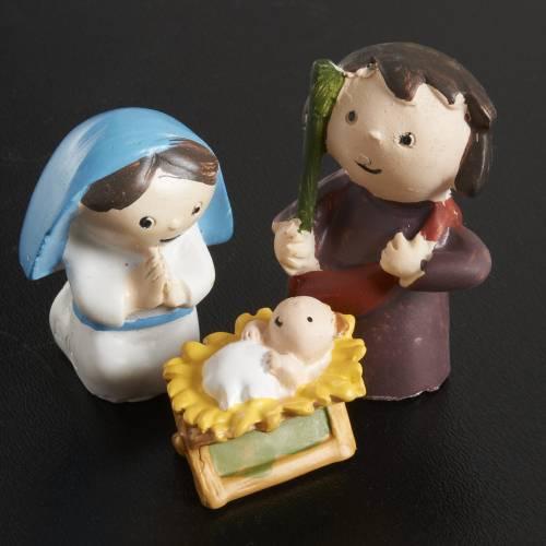 Nativity scene in coloured resin, 8 figurines 4,5cm s2