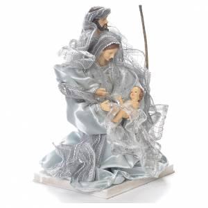 Nativity scene in resin and fabric, 20cm silver s2