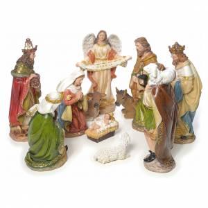 Nativity scene in resin, multicoloured with 11 figurines, 41cm s1