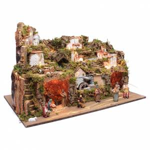 Stables and grottos: Nativity scene setting50x80x45 cm with lights and pump