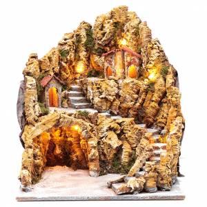 Neapolitan Nativity Scene: Nativity scene setting with lights and hut 40X35X40 cm