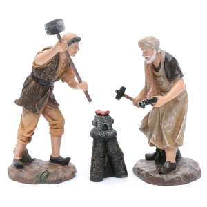 Nativity Scene figurines: Nativity scene statues blacksmiths with forge 20 cm 3 pieces set