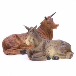 Nativity scene with ox and donkey, 30cm in resin s4
