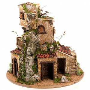 Stables and grottos: Nativity set accessory, cave with hamlet 30x42x30 cm
