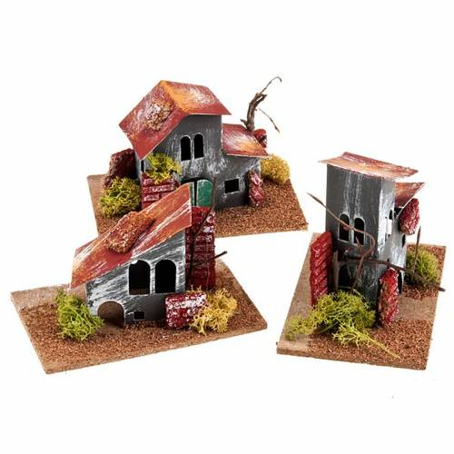 Nativity set accessory, paperboard coloured houses s1