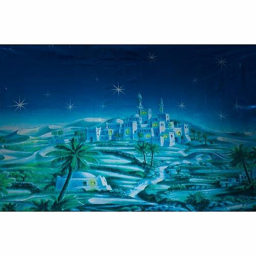 Nativity set accessory, starry night with Arab village backdrop s1