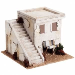Settings, houses, workshops, wells: Nativity setting, Arabian house with stairs