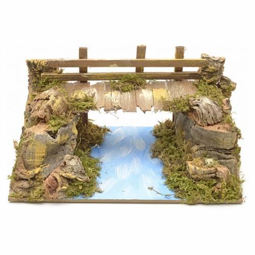 Nativity setting, bridge on lake 20x12cm s1