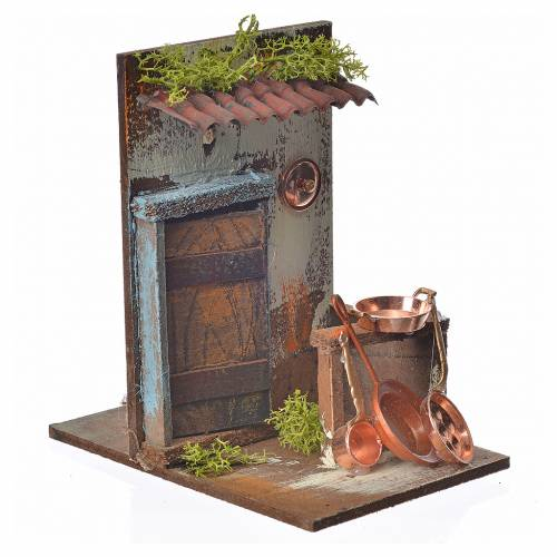Nativity setting, copper smith's workshop 15x9,5x9,5cm s2