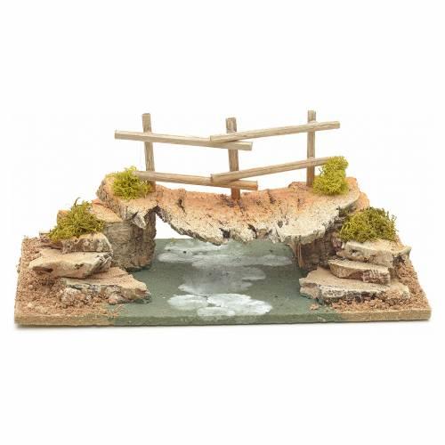Nativity setting, cork bridge 10x20x10cm s2