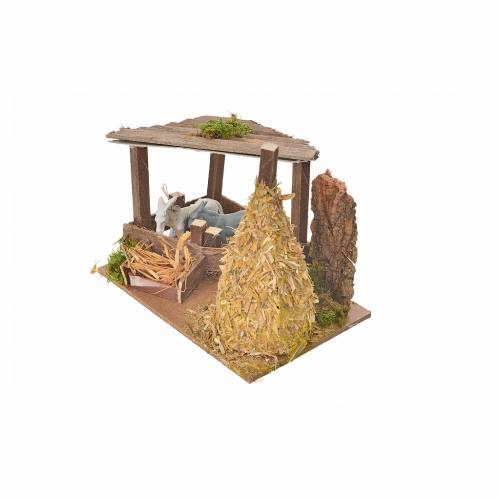 Nativity setting, fence with donkey and straw stack 11x15x10cm s3