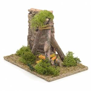 Nativity setting, fire pit with cork wall, 9x14x9cm s2
