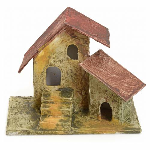 Nativity setting, house and ladder in stuccoed wood 11x10x7cm s1