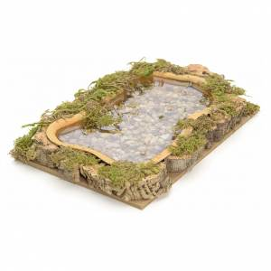 Bridges, streams and fences for Nativity scene: Nativity setting, lake, water effect 15x10cm