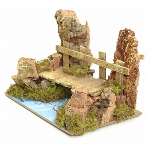 Nativity setting, river with bridge 10x15x10cm s3