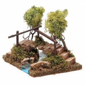Nativity setting, river with bridge and lichen trees s2