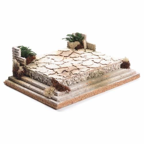 Nativity setting, square in cork 12x35x26cm s2