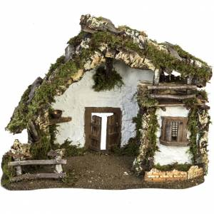 Nativity setting, stable with door and windows 30x42x18cm s1