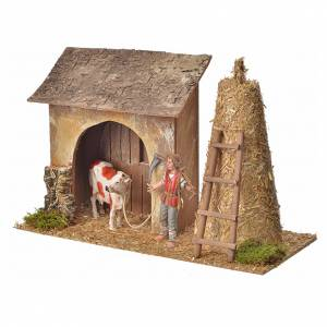 Nativity setting, stable with farmer, cow and straw 20x26x10cm s2